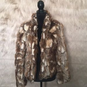 Arden B Brown Cream Faux Fur Rabbit Jacket Coat M